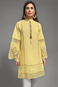 Jaune Lemon 1pc  Straight Shirt (Karandi) By Yesonline.Pk - yesonline.pk
