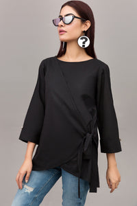 Black Wrap over Blouse in 100% Cotton By Yesonline.Pk - yesonline.pk