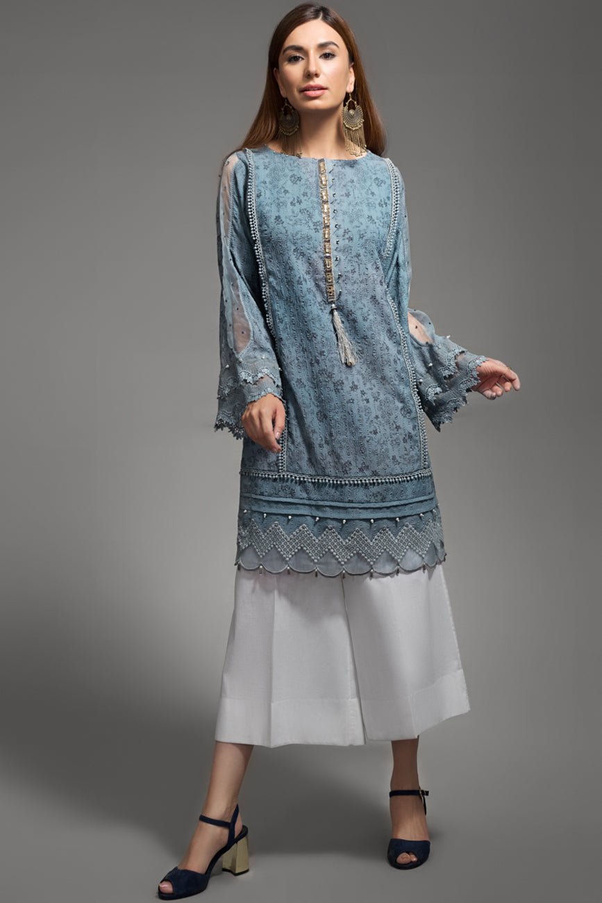 Triste Sky Grey Blue 1pc Straight Shirt   (Crinkle Viscose)  By Yesonline.Pk - yesonline.pk