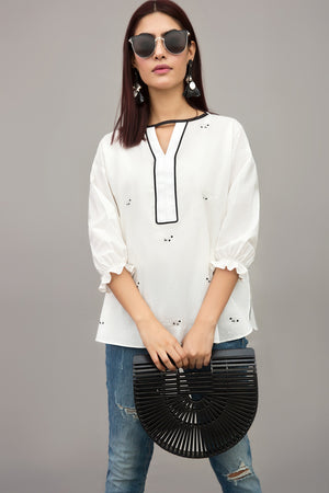 Trendy Sheep Cotton Embroidered Top By Yesonline.pk - yesonline.pk