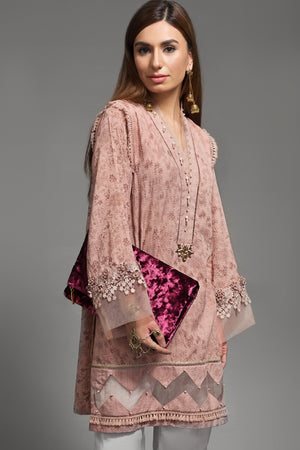 Incarnat Tea Pink 1pc Straight Shirt (Crinkle Viscose) By Yesonline.Pk - yesonline.pk