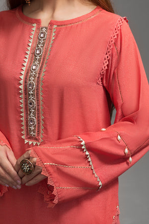 Intrepide Coral Pink 1pc  Straight Shirt (Mix Karandi) By Yesonline.Pk - yesonline.pk