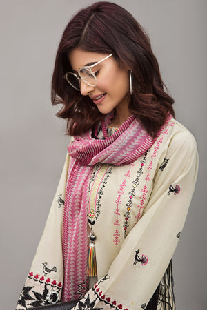 IVORY MEADOW 2pc Unstitched | Embroidered Lawn Shirt with Digital Chiffon Dupatta - yesonline.pk