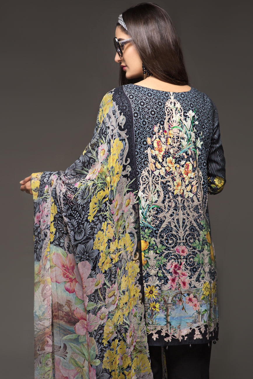 DARK GREY PASTEL- 2pc Unstitched Digital Printed Lawn Shirt with Digital Chiffon Dupatta - yesonline.pk