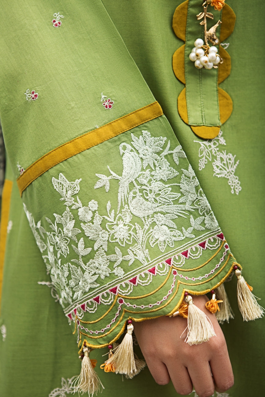 GLADE GREEN 2pc Unstitched | Embroidered Lawn Shirt with Digital Chiffon Dupatta - yesonline.pk
