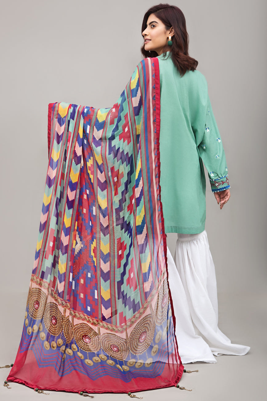 POOL BLUE 2pc Unstitched | Embroidered Lawn Shirt with Digital Chiffon Dupatta - yesonline.pk