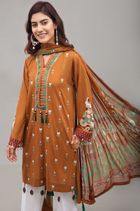 BURNT ORANGE 2pc Unstitched | Embroidered Lawn Shirt with Digital Chiffon Dupatta - yesonline.pk