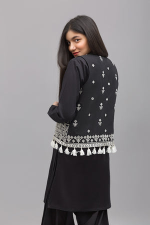 Traditional jacket- White Embroidery , 100% Cotton - yesonline.pk