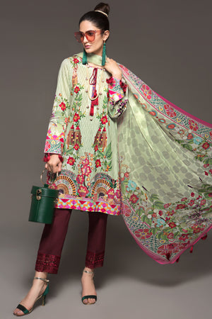 BURGUNDY PALE- 2pc Unstitched Digital Printed Lawn Shirt with Digital Chiffon Dupatta - yesonline.pk