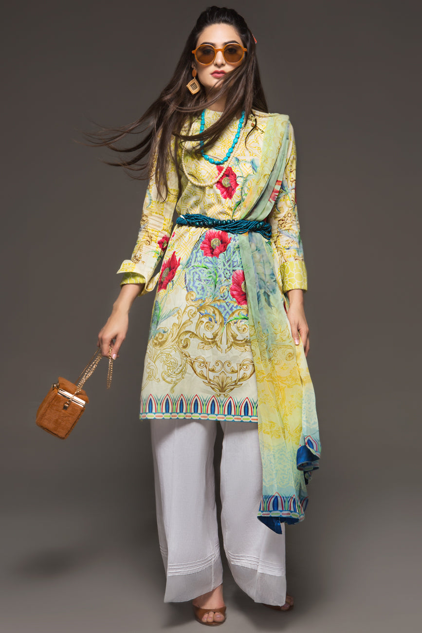 MELLOW MARI GOLD- 2pc Unstitched Digital Printed Lawn Shirt with Digital Chiffon Dupatta - yesonline.pk