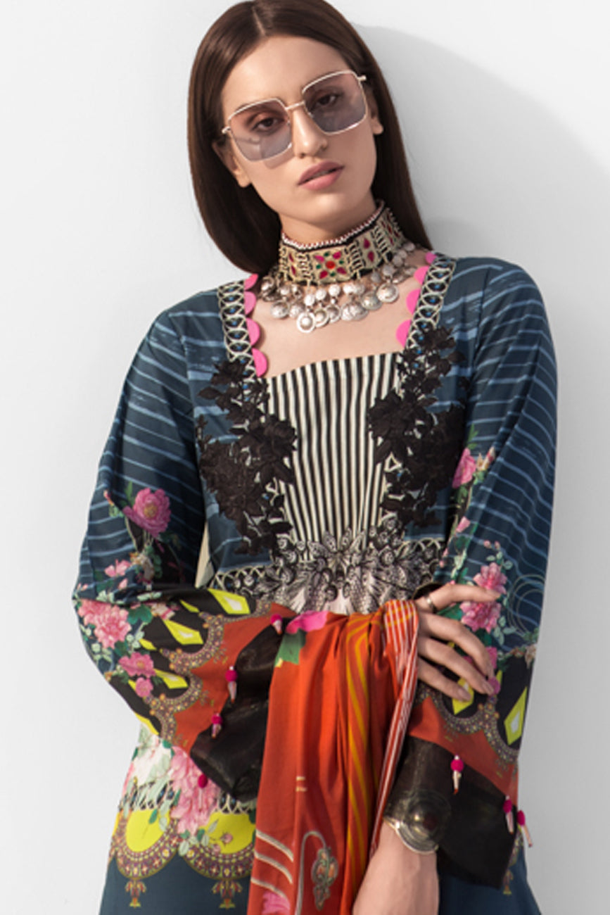 Mystic Charm 3pc Unstitched Digital Printed Lawn Shirt with Digital Printed Lawn Dupatta & Dyed Cambric Trouser - yesonline.pk