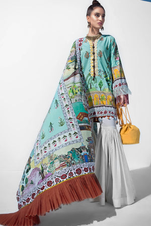 Mughal Garden 3pc Unstitched Digital Printed Lawn Shirt with Digital Printed Lawn Dupatta & Dyed Cambric Trouser - yesonline.pk