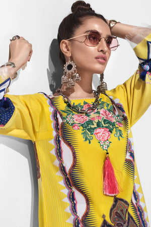 Flora Allure 3pc Unstitched Digital Printed Lawn Shirt with Digital Printed Lawn Dupatta & Dyed Cambric Trouser - yesonline.pk