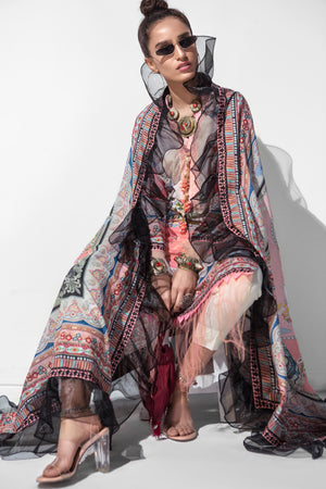 Pink Buzz 3pc Unstitched Digital Printed Lawn Shirt with Digital Printed Lawn Dupatta & Dyed Cambric Trouser - yesonline.pk