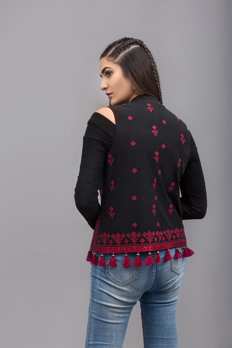 Traditional jacket  - Red Embroidery , 100% Cotton