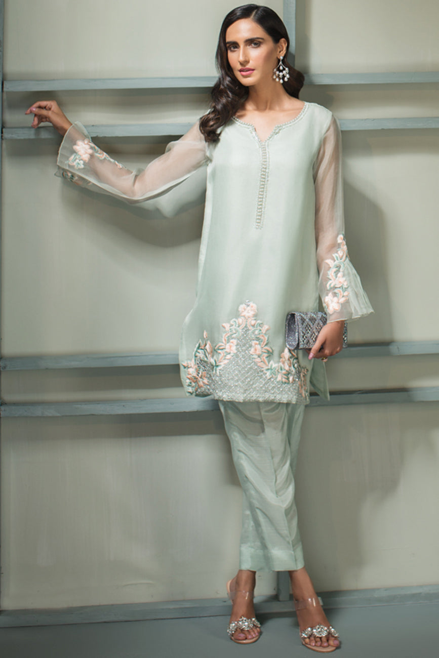 Royal Court - 2pc Organza Hand Embellished Shirt with Raw Silk Pants - Stitched By Yesonline.Pk - yesonline.pk