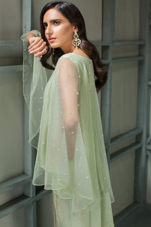 Mint Marvel - 2pc Net Hand Embellished Cape with Raw Silk Pants - Stitched  By Yesonline.Pk - yesonline.pk