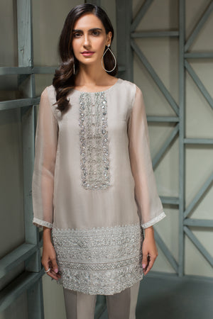 Silver Starlight - 2pc Organza Hand Embellished Shirt with Raw Silk Pants - Stitched By Yesonline.Pk - yesonline.pk
