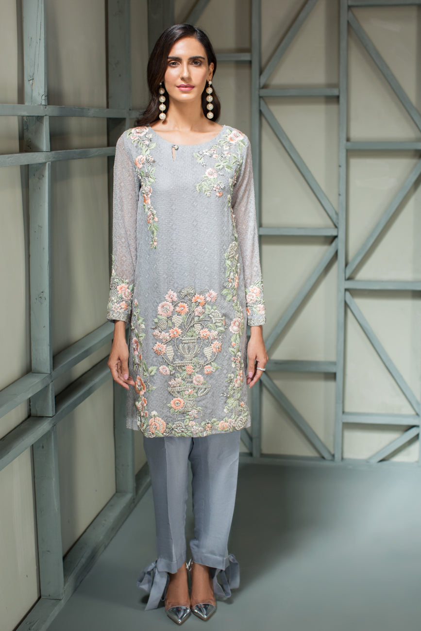 Shimmer Blue - 2pc Chiffon Schiffli Hand Embellished Shirt with Raw Silk Pants - Stitched - yesonline.pk