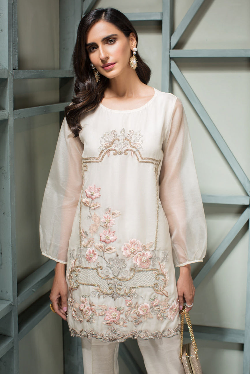 Ivory Princess - 2pc Organza Hand Embellished Shirt with Raw Silk Pants - Stitched By Yesonline.Pk - yesonline.pk