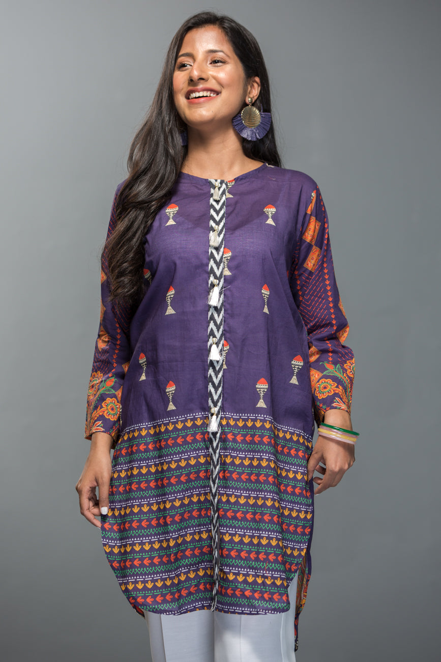 Purple Pennant-Unstitched Printed 1-Piece. - yesonline.pk