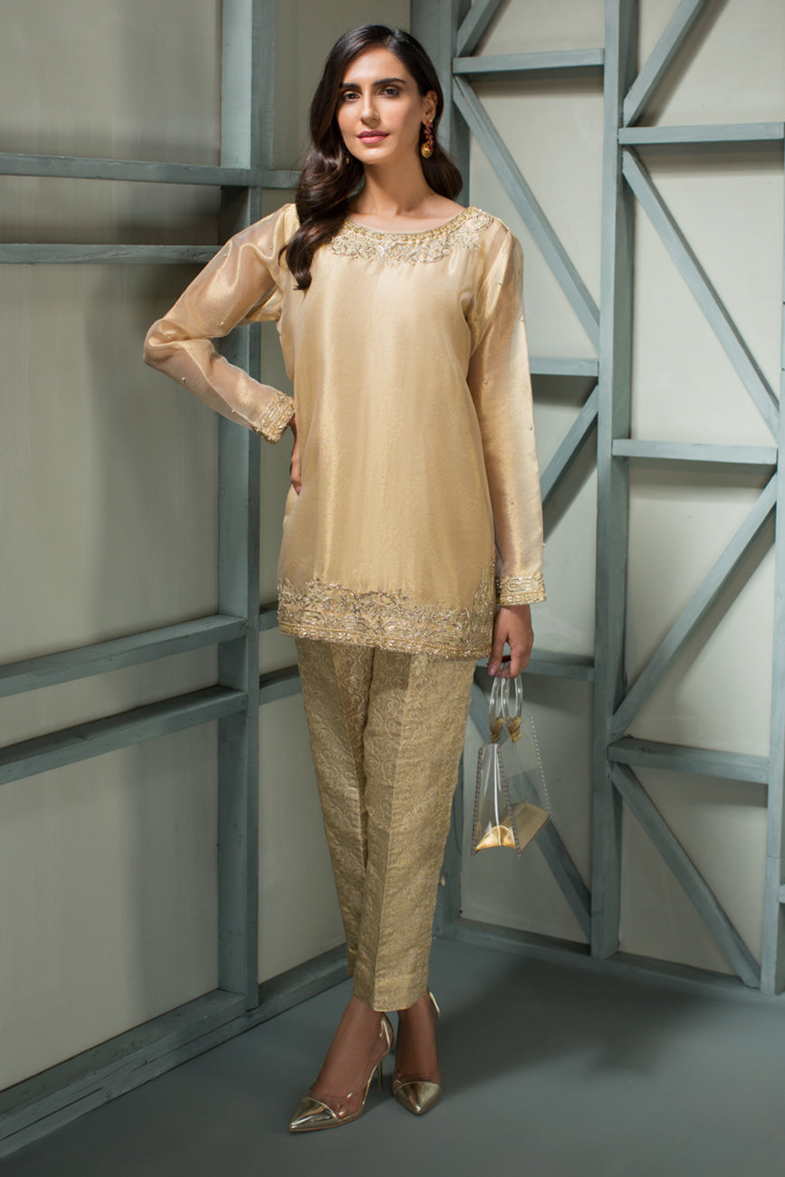 Gold Nakshti - 2pc Pure Tissue Gold Shirt with Jamawaar Pants - Stitched By Yesonline.Pk - yesonline.pk