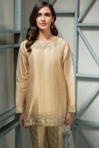 Gold Nakshi - 2pc Pure Tissue Gold Shirt with Jamawaar Pants - Stitched By Yesonline.Pk - yesonline.pk