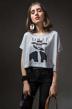 En Vogue Slub Gray Crop Top T-Shirt By Yesonline.Pk - yesonline.pk