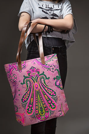 Pink Paisley Leather Strap Bag By Yesonline.pk - yesonline.pk