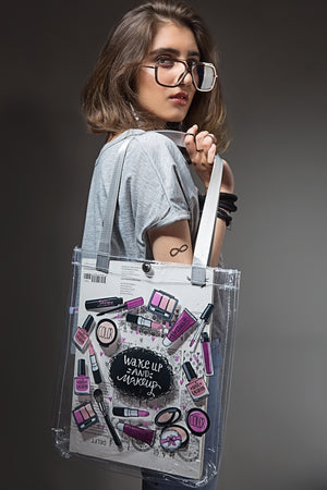WakeUp & MakeUp Clear Tote Bag By Yesonline.pk - yesonline.pk