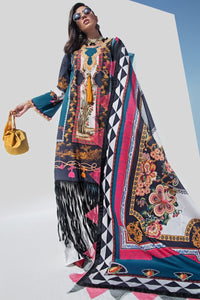 Japanese Tapestry 3pc Unstitched Digital Printed Lawn Shirt with Digital Printed Lawn Dupatta & Dyed Cambric Trouser - yesonline.pk