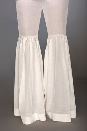 White Raw Silk Gharara Pants By Yesonline.Pk - yesonline.pk