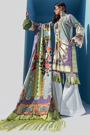 Rococo 3pc Unstitched Digital Printed Lawn Shirt with Digital Printed Lawn Dupatta & Dyed Cambric Trouser - yesonline.pk