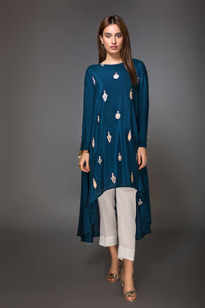 Royal Blue Raw Silk Embroidered Kurta - yesonline.pk