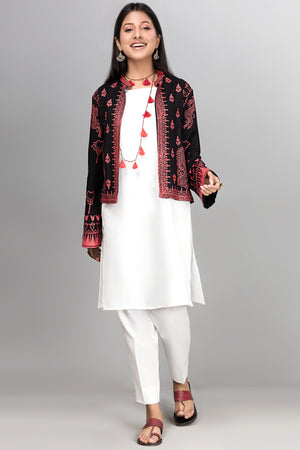 Block Printed Pirate Black Jacket - yesonline.pk