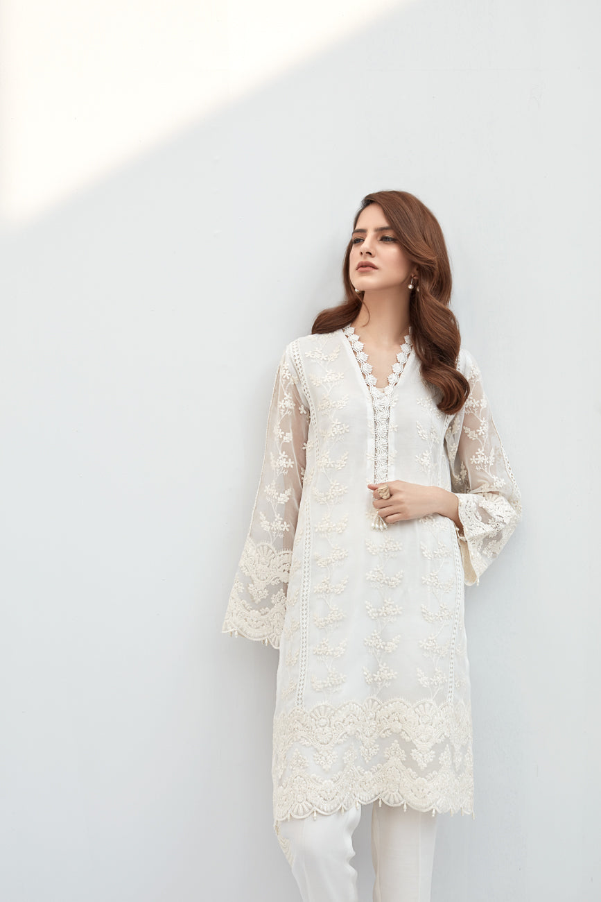 Magnolia White -2pc Embroidered Front Back & Sleeves On Organza shirt.With Silk Cotton Under Slip & Raw Silk Straight Pant. Stitched By Yesonline.Pk - yesonline.pk