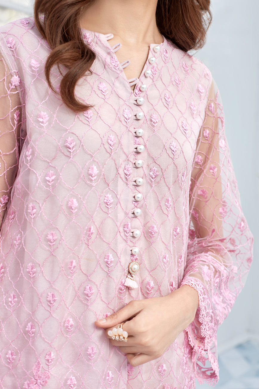 Pink Fluence 2pc-Embroidered Front Back & Sleeves On net shirt.With Silk Cotton Under Slip & Raw Silk Straight Pant. Stitched By Yesonline.Pk - yesonline.pk