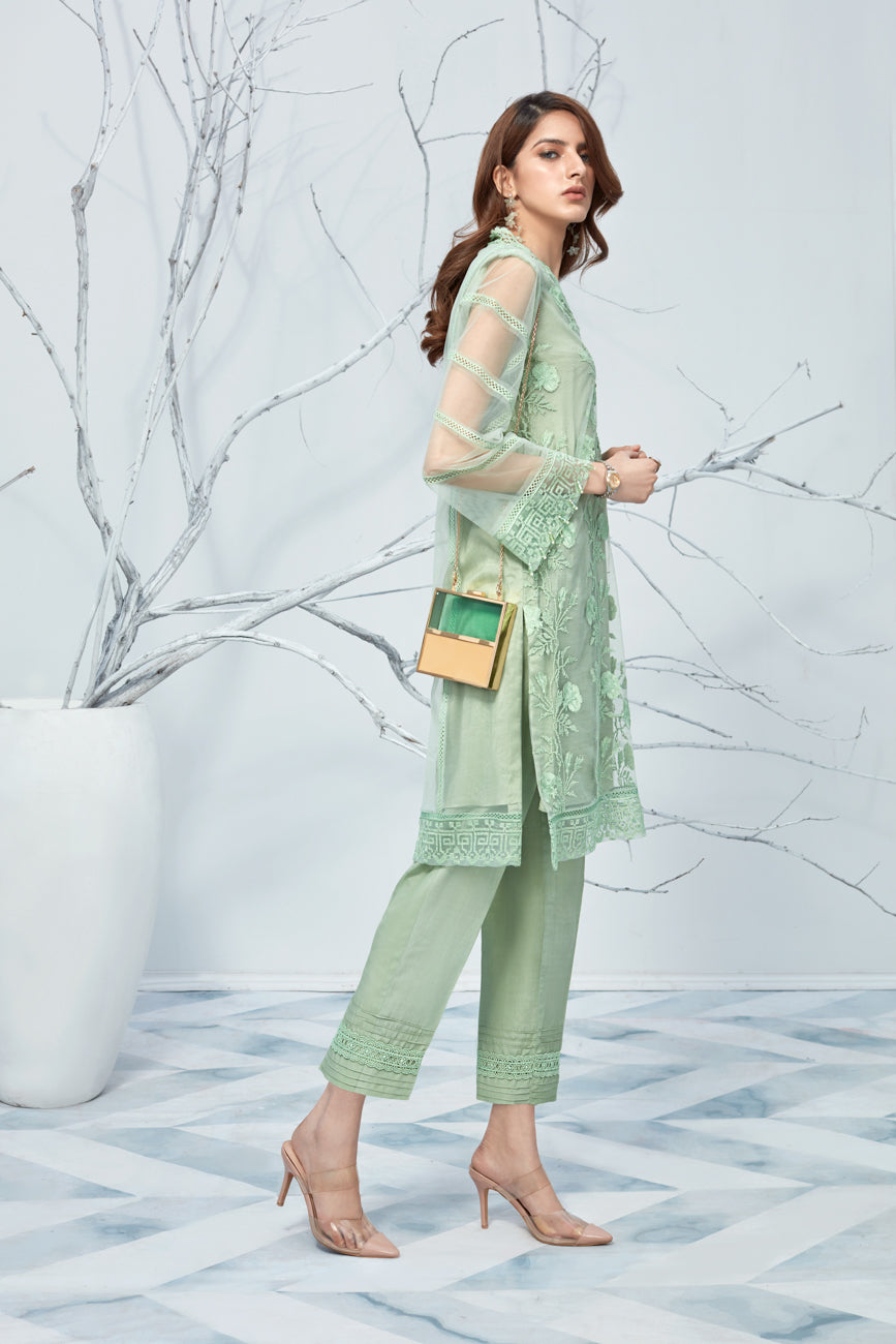 Mint Glimmer 2pc-Embroidered Front Back And Sleeves( Embroidered Border Back & Sleeves) On  net shirt.With Silk Cotton Under Slip & Raw Silk Straight Pant. Stitched By Yesonline.Pk - yesonline.pk