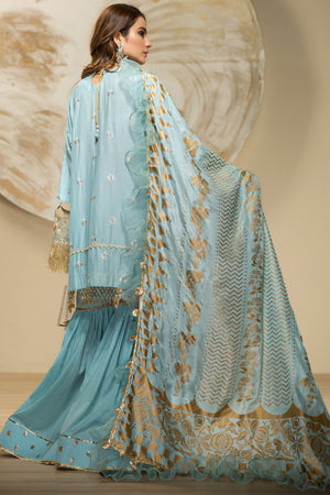 Perennial Aqua  Unstitched 3 pc Slub Lawn With Embroidered Shirt Foil Printed Dupatta in Tissue Silk & Dyed Matching Cambric Trouser - yesonline.pk