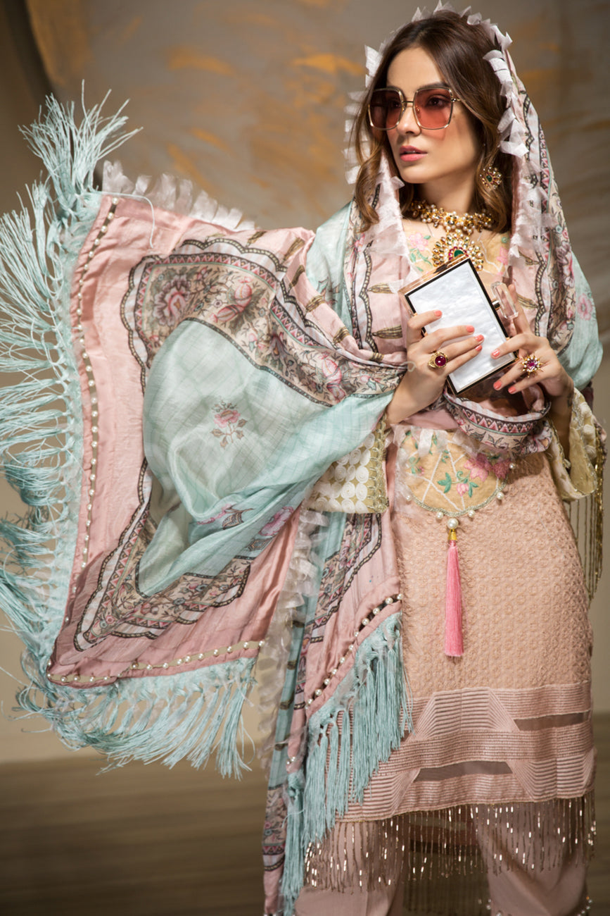 Rose Amour Unstitched 3 pc ChikanKari With Embroidered Shirt & Digital Print On Tissue Silk Dupatta & Dyed Matching Cambric Trouser - yesonline.pk