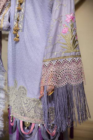 Majestic Lilac  Unstitched 3 pc ChikanKari With Embroidered Shirt & Digital Print Chiffon Dupatta & Dyed Matching Cambric Trouser - yesonline.pk
