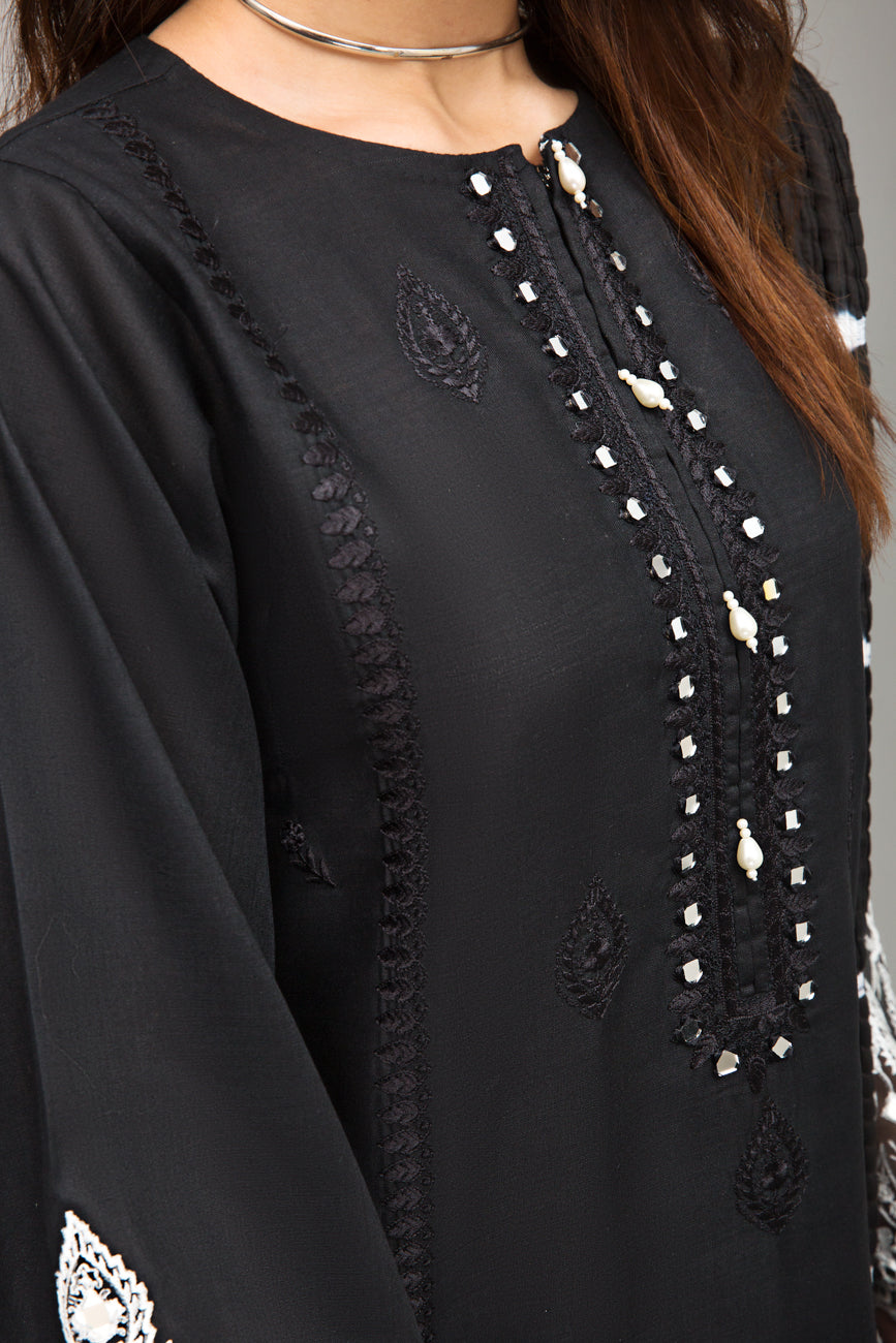 Black 1 pc PRET (Stitched) - Embroidered Mix Cotton Sheesha work Kurta - yesonline.pk