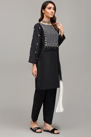 Black 1 pc PRET (Stitched) - Embroidered Mix Cotton Ethnic Square Kurta - yesonline.pk