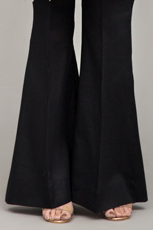Black Boot Cut Pants Mix Cotton By Yesonline.Pk - yesonline.pk