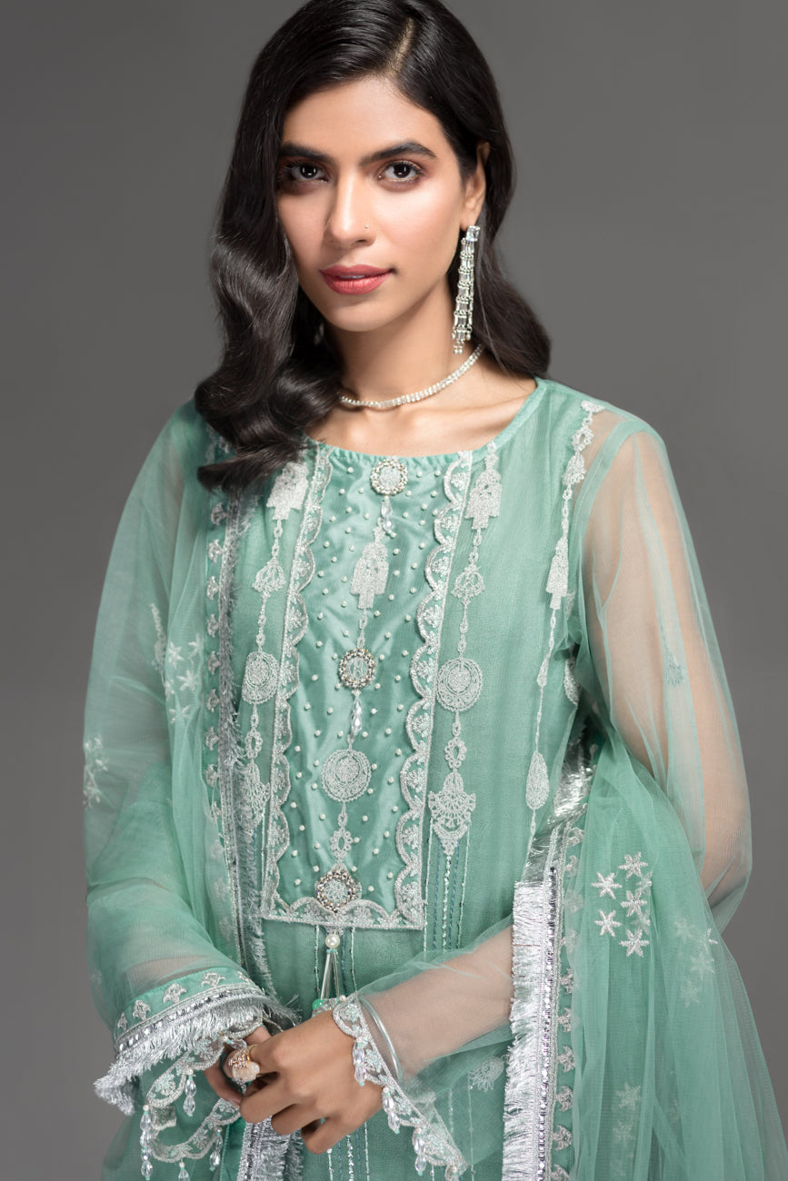 Bery Green -Semi Formal Unstitched 4PC - yesonline.pk