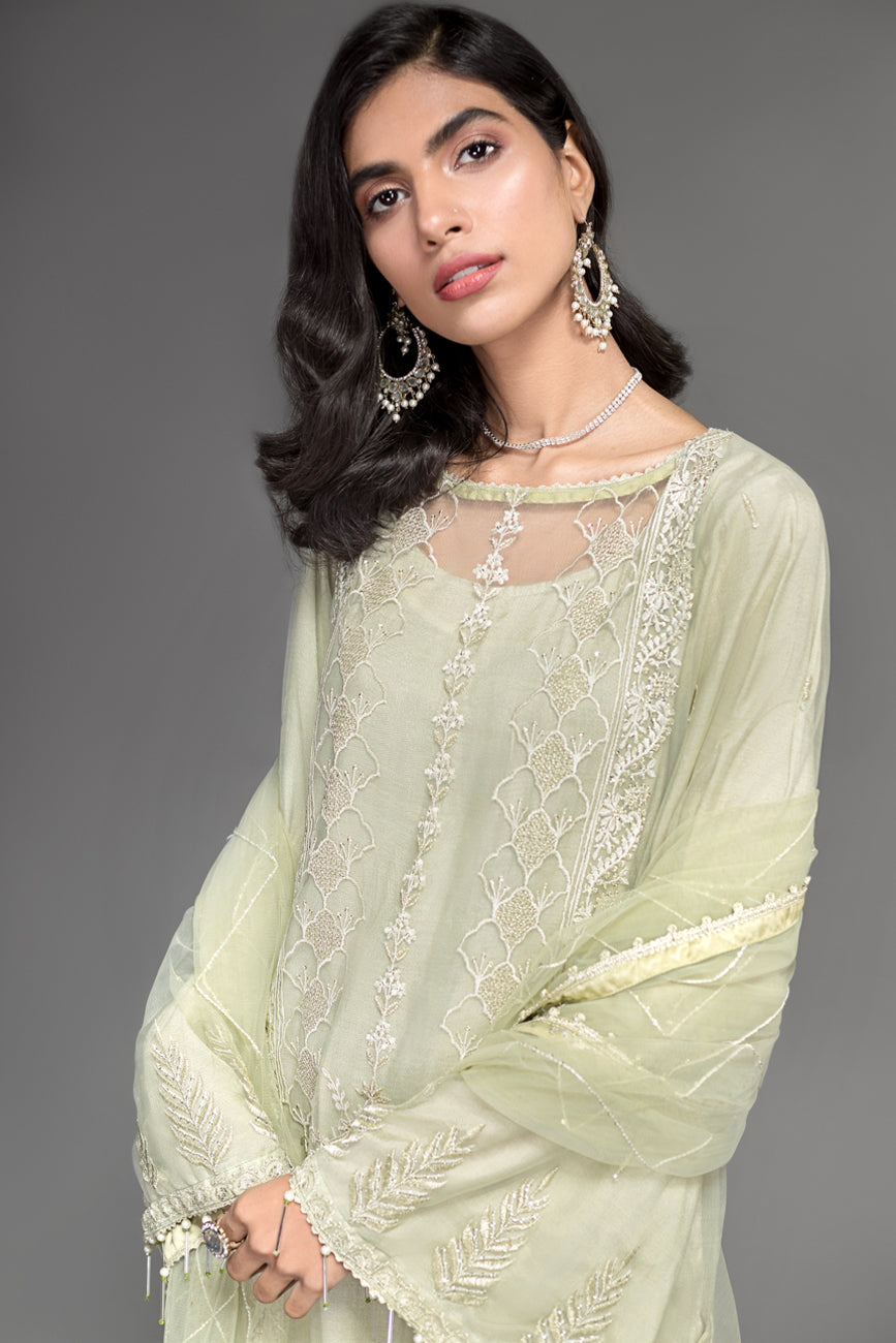Shadow Lime -Semi Formal Unstitched 4PC - yesonline.pk