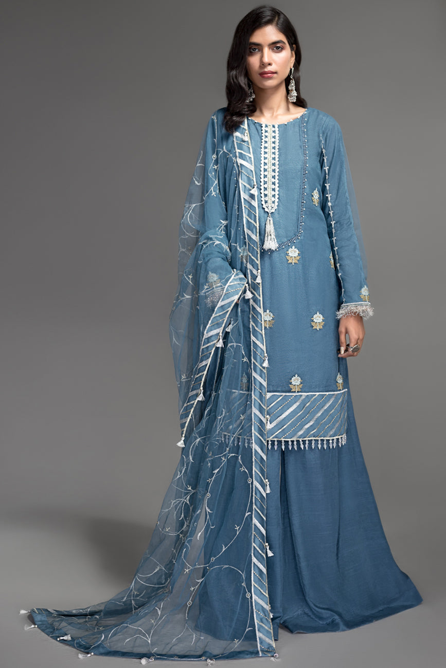 Blue Ashes - Semi Formal Unstitched 4PC - yesonline.pk