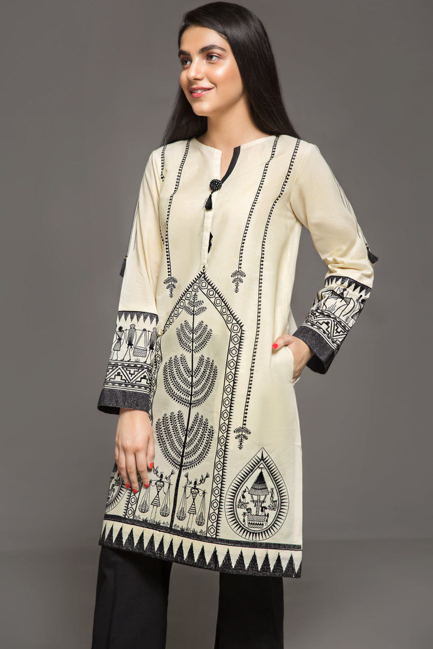 IVORY & BLACK - 1 pc PRET (Stitched) - Embroidered Cambric Shirt - yesonline.pk