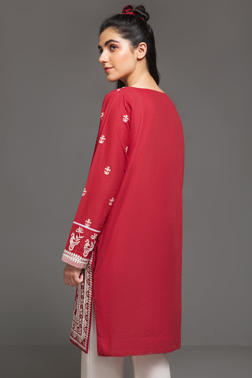CRIMSON & WHITE - 1 pc PRET (Stitched) - Embroidered Cambric Shirt - yesonline.pk