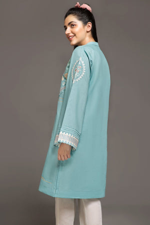 MINT BLUE- 1 pc PRET (Stitched) - Embroidered Cambric Shirt - yesonline.pk